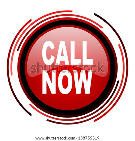 call now red circle web glossy icon on white background  - stock photo