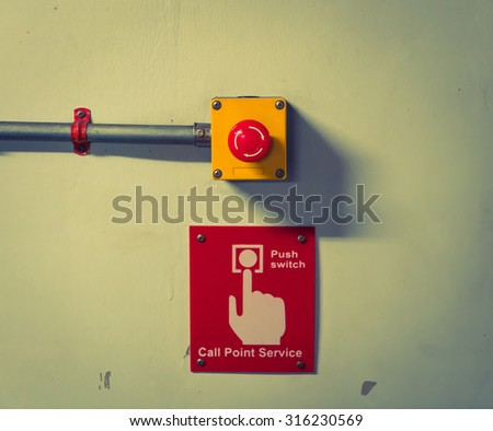 Call point service Button  ( Filtered image processed vintage effect. ) - stock photo