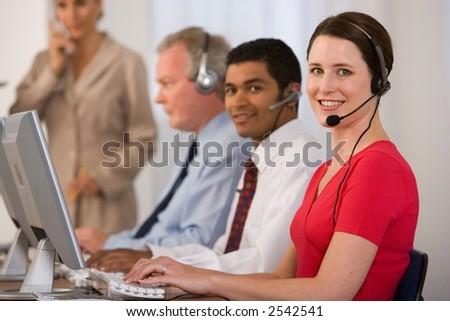call/sewrvice centre female - stock photo