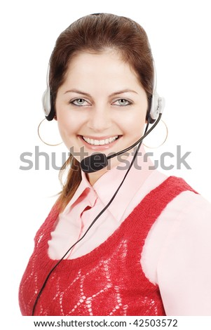 Call support girl for customer service smiling with headphones and microphone isolated on white with selective focus - stock photo