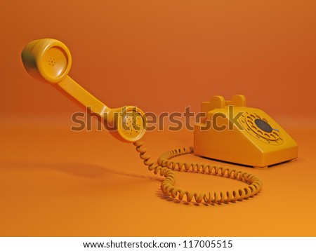 Call to order a taxi. Orange phone and the handset is close to the camera - stock photo