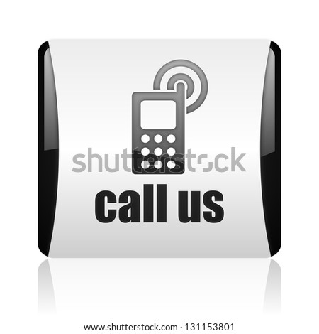 call us black and white square web glossy icon - stock photo