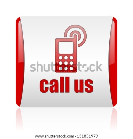 call us red and white square web glossy icon - stock photo