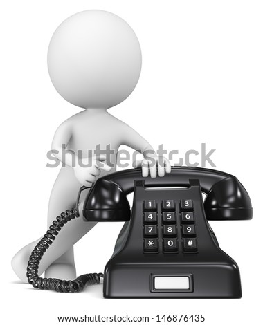 Call Us. The Dude pointing at a classic black telephone.  - stock photo