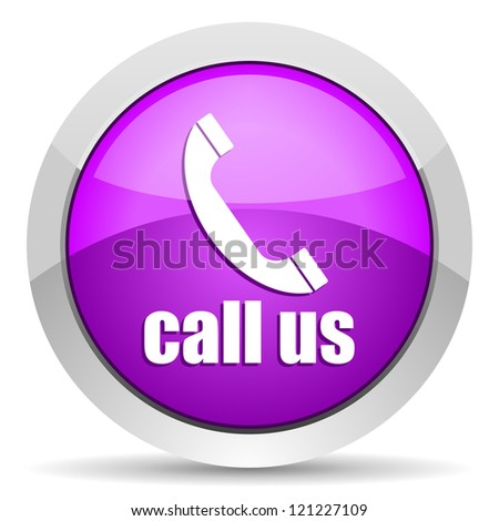 call us violet glossy icon on white background - stock photo