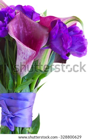 Calla lilly and eustoma flowers bouquet close up isolated on white background - stock photo