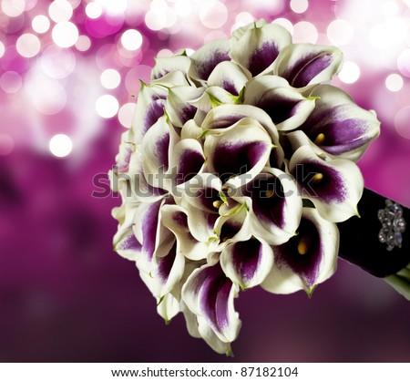 calla wedding bouquet - stock photo