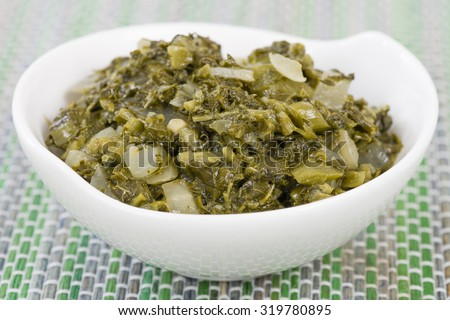 Callaloo - Caribbean side dish made with amaranth. - stock photo