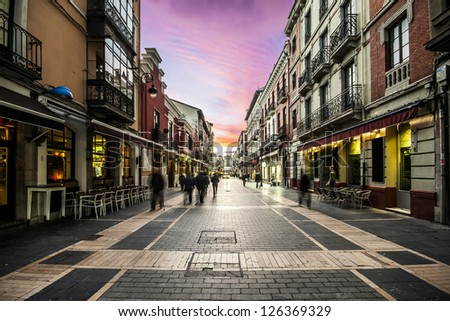 Calle Ancha, one of the most important streets of Leon, Castilla y Leon, Spain - stock photo