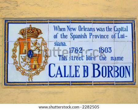 Calle de Bourbon, Bourbon Street sign in French quarter - stock photo