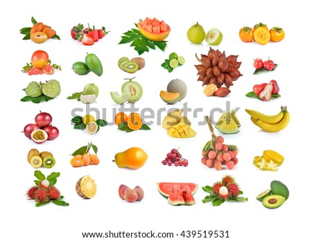 callection of fruits on a white background