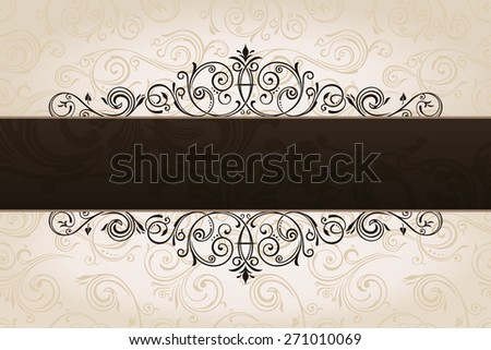calligraphic brown banner with decorative background. Vintage patterned border. vector copy in my portfolio - stock photo