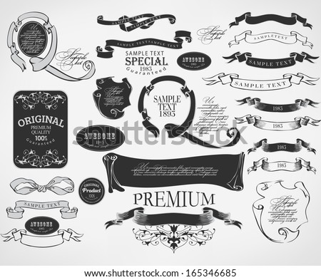 calligraphic design elements - stock photo