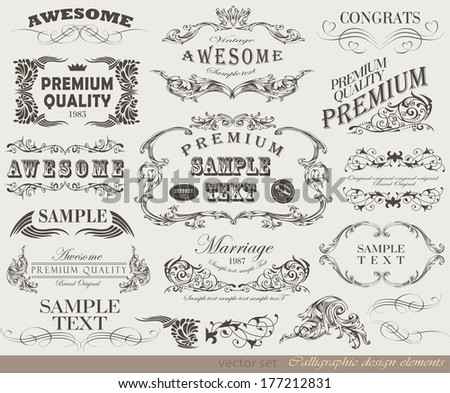 calligraphic design elements and page decoration - stock photo