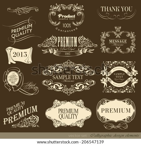calligraphic design elements can be used for invitation, congratulation