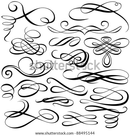 Calligraphic elements - stock photo
