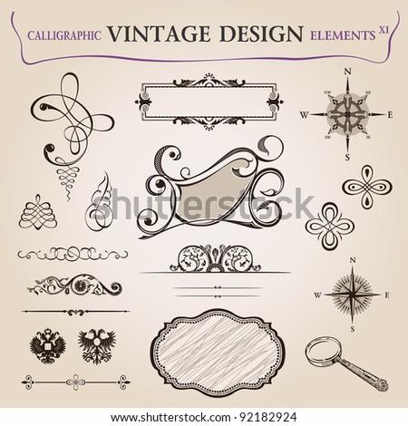 Calligraphic elements vintage decor. frame ornament. Vector copy search in my portfolio - stock photo