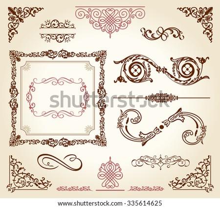 calligraphic elements vintage ornament set. Vector frame decor - stock photo