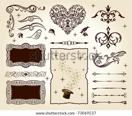 calligraphic elements vintage raster set. Happy valentine day decor - stock photo