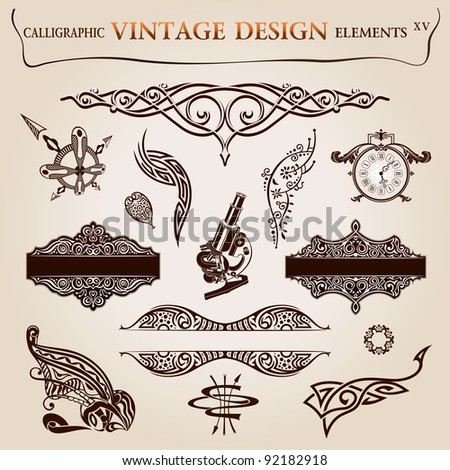 Calligraphic Elements Vintage Tattoo Frames Symbols Stock ...