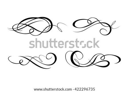 Calligraphic flourishes collection - stock photo