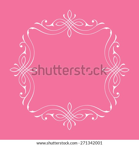 Calligraphic frame and page decoration. illustration border background - stock photo
