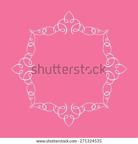 Calligraphic frame and page decoration. illustration pink background - stock photo