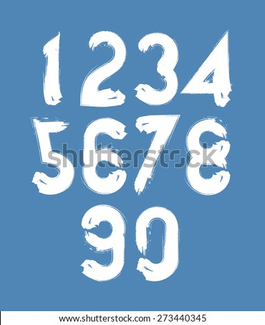 Calligraphic numbers drawn with ink brush, white numbers collection. - stock photo