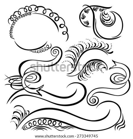 calligraphic swirling decorative elements banner ribbon black - stock photo