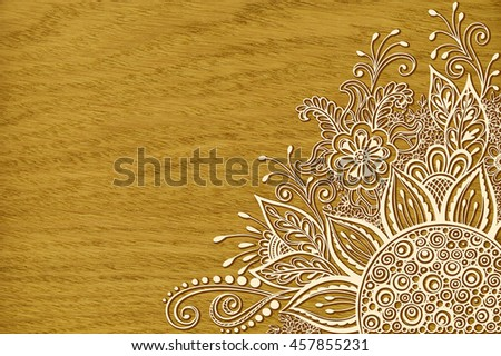 Calligraphic Vintage Pattern, Symbolic Flowers and Leafs, Abstract Floral Outline Ornament, Contours on Wood Texture, Oak Tree Veneer - stock photo