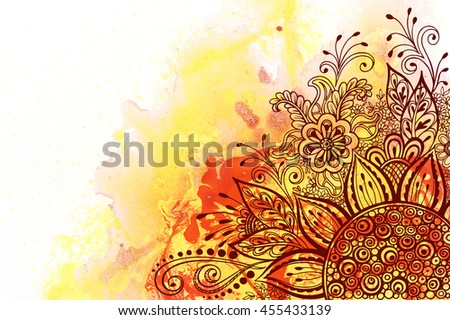 Calligraphic Vintage Pattern, Symbolic Flowers and Leafs, Abstract Floral Outline Ornament, Brown Contours on Colorful Hand-Draw Watercolor Painting Background - stock photo