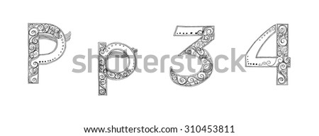 Calligraphy Designs freehand pencil sketch and scan Concept fancy of Vanda flower orchid set have font and symbol type on keyboard some alphabet have Butterfly black and white color