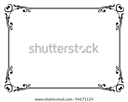 calligraphy ornamental decorative frame with heart - stock photo