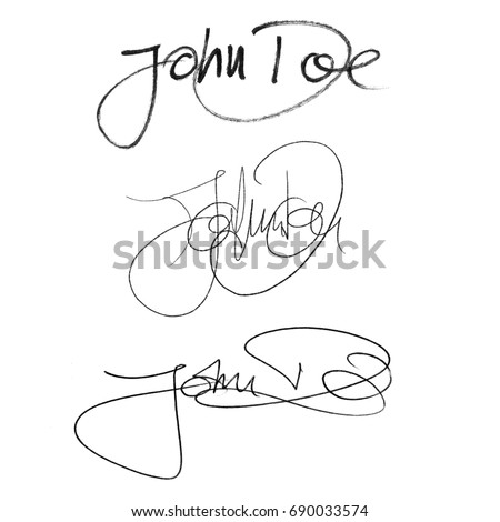 Calligraphy Signature John Doe Set Of Different Characteristic Styles Handwritten With Fiber