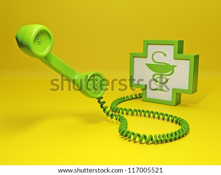 Calling the doctor. Big green retro telephone and sign medicine. Calling for help - stock photo