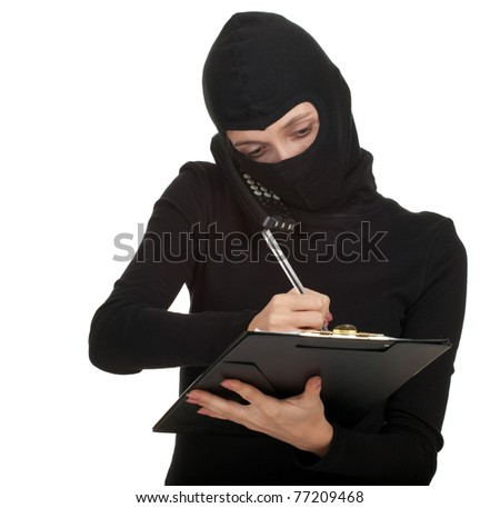calling young female thief writing on black clipboard - stock photo