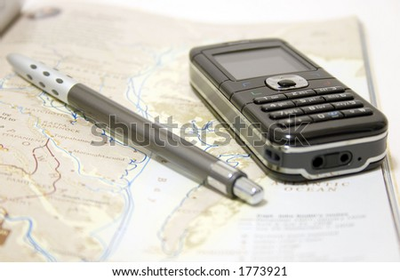 Callphone and Map - stock photo