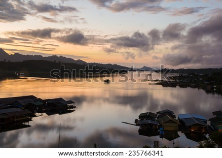 Calm and relaxation in day break on the lake view - stock photo