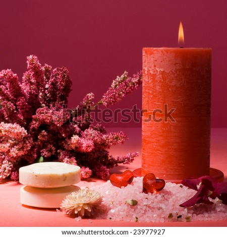 Calm and relaxing spa accessories, still life - stock photo