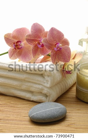 Calm and relaxing spa setting - stock photo
