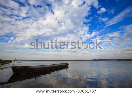 Calm and windless day over the lake in the Netherlands