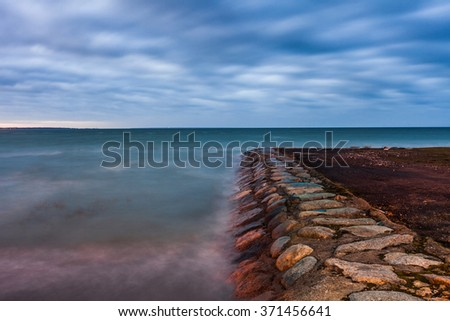 Calm Baltic sea landscape with stones