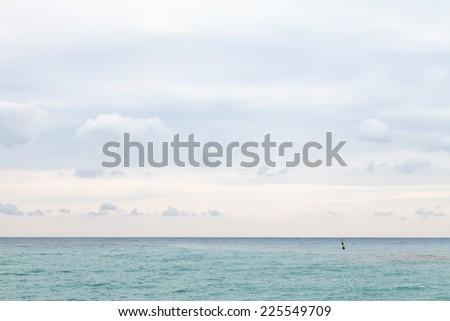 calm Black Sea in cloudy autumn day - stock photo