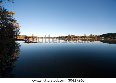 Calm Blue Lake - stock photo