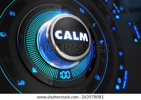 Calm Controller on Black Control Console with Blue Backlight. Increase, improvement, control or management concept. - stock photo