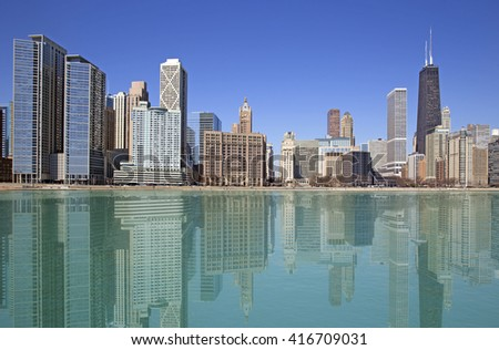 Calm day in Chicago - stock photo