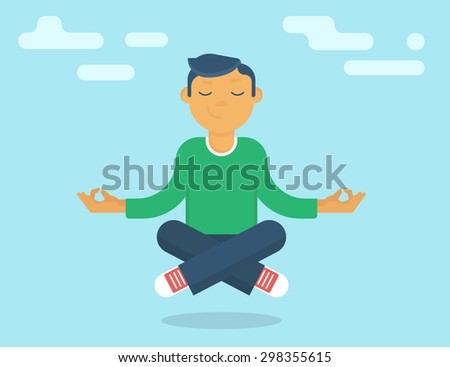 Calm guy meditating in the sky. Flat modern style - stock photo