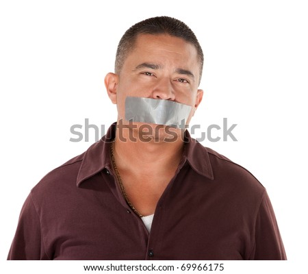 Calm Hispanic man with duct tape over his mouth on white background - stock photo