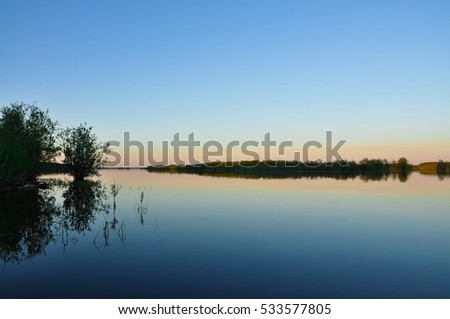 Calm lake in the evening