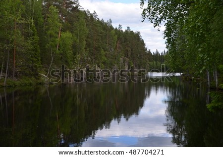 Calm lake in the summer